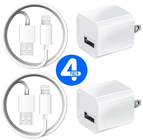 Price comparison product image Certified Universal USB 5W / 1A Travel Power Wall Charger with 10 FEET/ 3 METER [Heavy Duty] Lightning to USB Cable (2 Pack)