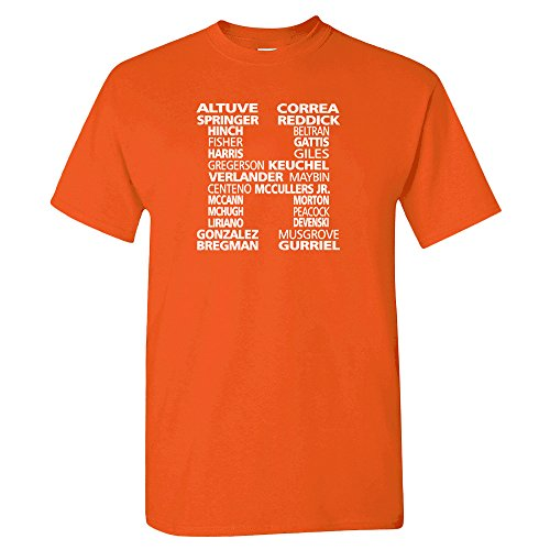 Houston H-Town WS Roster Baseball Fan Shirt (Orange, M)
