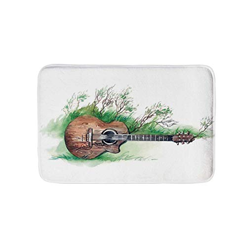 Music Decor Soft Door Mat,Wooden Guitar Branches Classical Meadow Summertime Lawn Landscape for Living Room,M ()