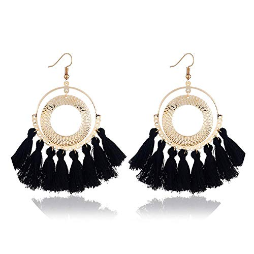 Welcometoo Perfect Choice Tassel Earrings Women Punk Big Boho Stud Earrings Vintage Earrings,GoldBlack