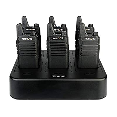 Retevis RT22 Walkie Talkies Rechargeable Hands Free UHF Channel Lock 2 Way Radios Two-Way Radio(6 Pack) with 6 Way Multi Gang Charger: Car Electronics