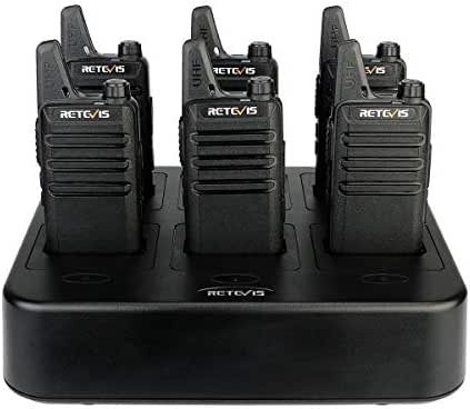 Retevis RT22 Walkie Talkies Rechargeable Hands Free UHF Channel Lock 2 Way Radios Two-Way Radio(6 Pack) with 6 Way Multi Gang Charger