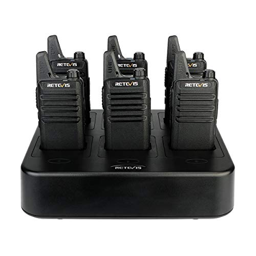 Retevis RT22 Walkie Talkies Rechargeable Hands Free UHF Channel Lock 2 Way Radios Two-Way Radio 6 Pack with 6 Way Multi Gang Charger