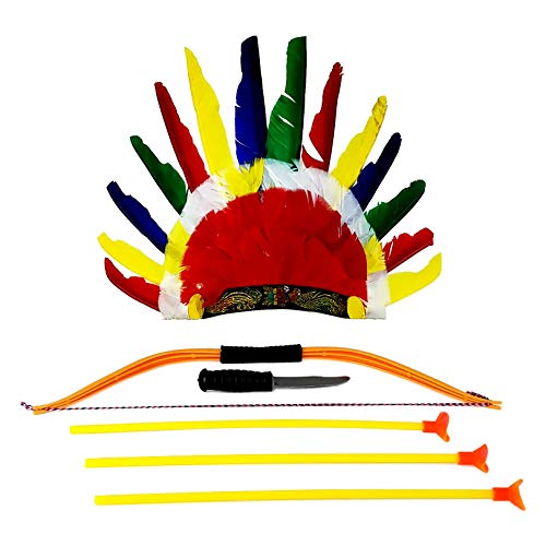 Rhode Island Novelty American Indian Dress Up Headdress Costume Accessories for Kids 6-Piece Bundle
