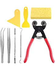 Keadic 8 Pieces Mosaic Making Supplies Tools Set, Including Scrapers, Tweezers, Double-Ended Hook, Spatula, Sponge and Glass Tile Nippers Perfect for for Beginning Mosaic Enthusiasts