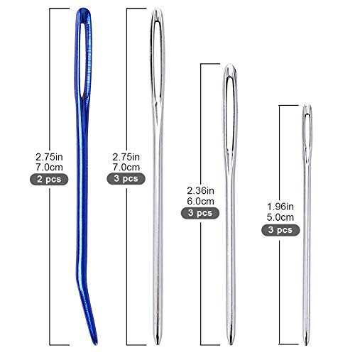 BCMRUN - Juego de agujas de ganchillo, 5 unidades, 12 mm (P)-25 mm (U), hechas a mano, con 11 agujas de punto de ojo grande, gancho de hilo gigante para ...