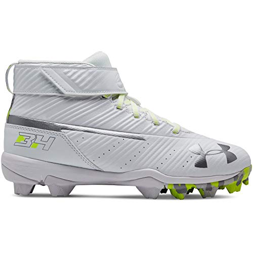 Under Armour Boys' Harper 3 Mid Jr. RM Baseball Shoe, (100)/White, 1.5 by Under Armour (Image #7)