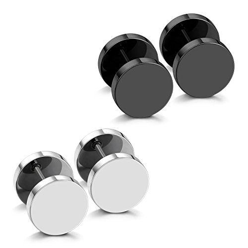 - JewelrieShop Black Faux Gauges Plugs Earrings for Men Stainless Steel Dot Disc Studs Circle Flat Back Cheater Tunnel Dumbbell Earrings Women(18 Gauges,2 Pairs,3mm-14mm,Black and Silver)
