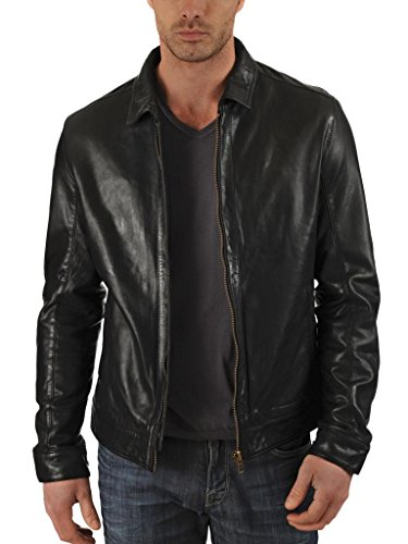 Exemplar Men's Genuine Lambskin Leather Jacket Black KL716 XL