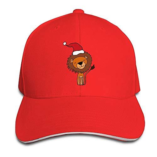 ONE-HEARTHR Adult Cute Lion in Santa Hat Cotton Lightweight Adjustable Peaked Baseball Cap Sandwich Hat Men Women ()