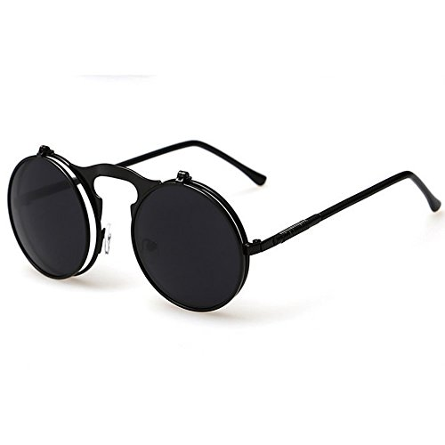 Julyshop Men Women Vintage Round Metal Frame Flip Up Sunglasses Glasses New Eyewear Lens (black, - Sunglasses Up Flip