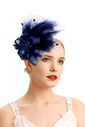 (Women's Fascinators Hat Hair Clip Feather Wedding Headware Bridal 1920s Headpiece(1-d.blue))