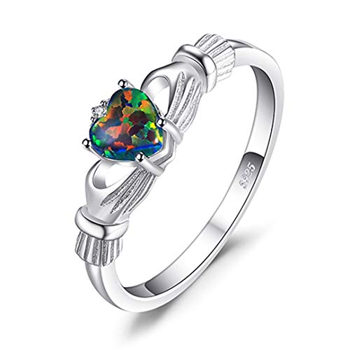 MARRLY.H Rainbow Fire Opal Love Rings Solid 925 Sterling Silver Heart Irish Claddagh Ring with Stone Bohemia Jewelry Woman 4