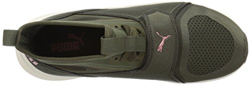 PUMA Womens Phenom Wn Sneaker, Olive Night-Whisper White, 10.5 M US