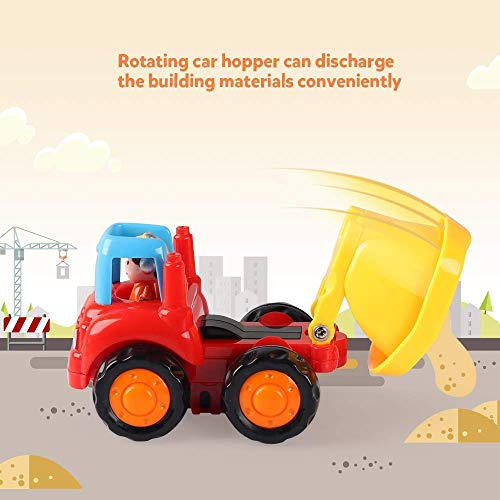 Coogam 4 Pack Friction Powered Cars Construction Vehicles Toy Set Cartoon Push and Go Car Tractor, Bulldozer, Cement Mixer Truck, Dumper for Year Old Boy Girl Toddler Baby Kid Gift