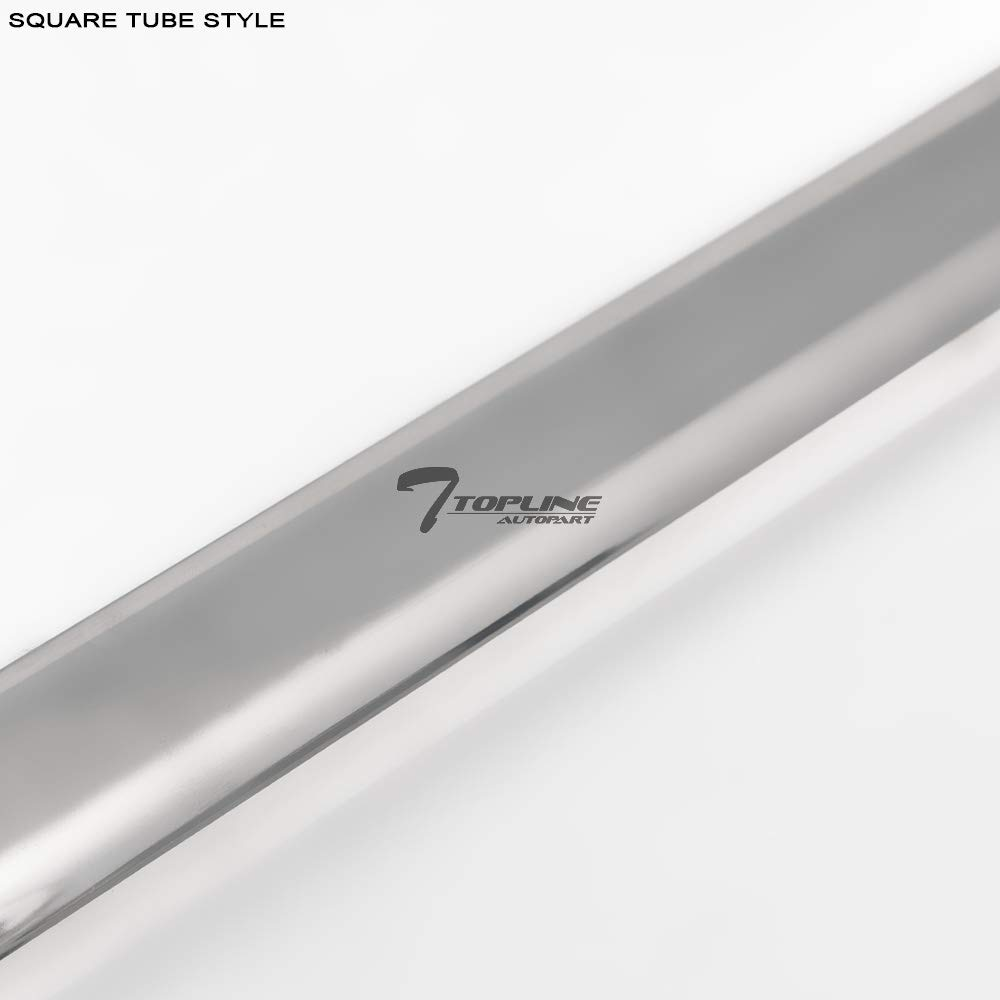 Topline Autopart Nylon Style 1.75 Heavy Duty Stainless Steel Chrome Square Shaped Tube Truck Side Bar Rails For 04-14 Ford F150 Styleside 8 Feet 96 Long Bed