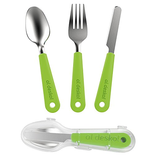 Reusable Utensils with Case, Eco Friendly Cutlery Set Silverware, 3pc Plastic and Stainless Steel Knife Fork Spoon Eating Utensil Set with Zero Waste (Green)