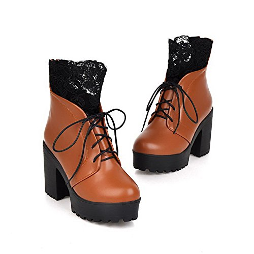 AgooLar Women's Blend Materials Low-Top High-Heels Round Closed Toe Boots Brown-lace cBjvoCiZxv