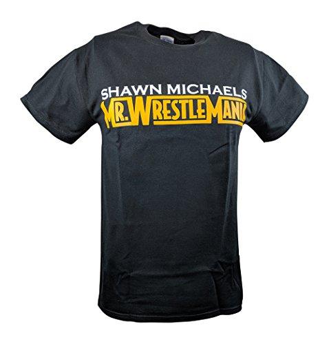 Shawn Michaels Mr Wrestlemania WWE Black T-shirt-3XL by Hybrid Tees
