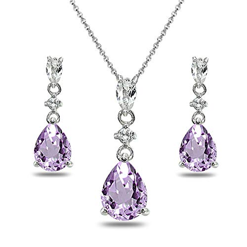 Sterling Silver Amethyst & White Topaz Pear-Cut Teardrop Dangling Stud Earrings & Necklace Set