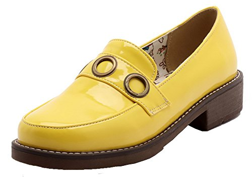Patent Round Citrine Pull Leather Heels Pumps Solid Shoes Low On WeiPoot Women's Toe FZq0C