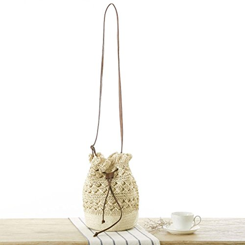 Straw Everpert Crochet Beach Beige Bucket Drawstring Handbag Shoulder Crossbody Bag Women rZxnqPr