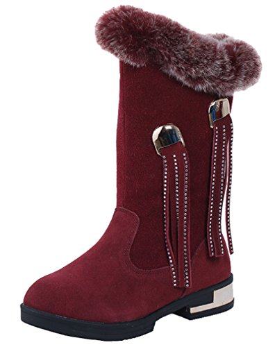 Cotton Boot Girl Walking Wine Girls Boot Baby Boot Red Tassel Cold Cozy Boot Middle Winter Street Warm Snow Zip Pointss Weather 6qaw7w