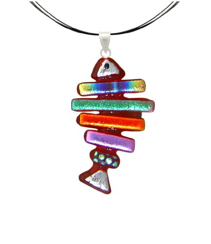 Dichroic Glass Pendant Jewelry - Sterling Silver Dichroic Glass Red and Rainbow Fish Bone Pendant Necklace on Stainless Steel Wire- 18