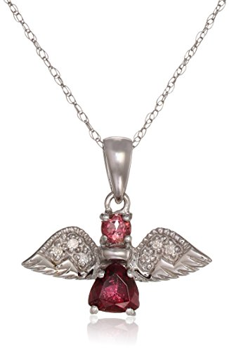 Pink Tourmaline and Rhodolite Garnet Diamond Accent Angel White Gold Pendant Necklace with 18