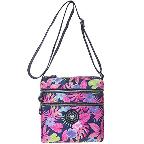 Multi-Pocket Crossbody Purse Bags for Women Travel Shoulder Bag (Colorful leaves)