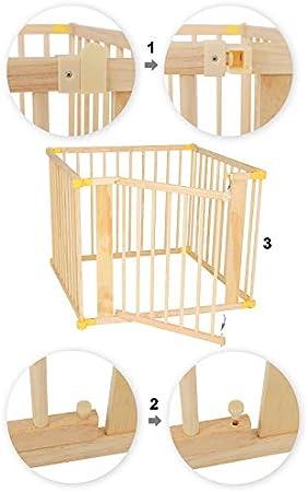 dibea Parque infantil de madera con elementos giratorios de 270°, plegable, 4 elementos, 90 x 68 cm
