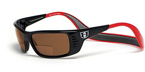 Hoven Eyewear MEAL TICKET Polarized Bi-Focal Reading Sunglasses manufactured under license if Clic Magnetic Glasses in Black & Red w/ Brown Lens - Eyewear Hoven