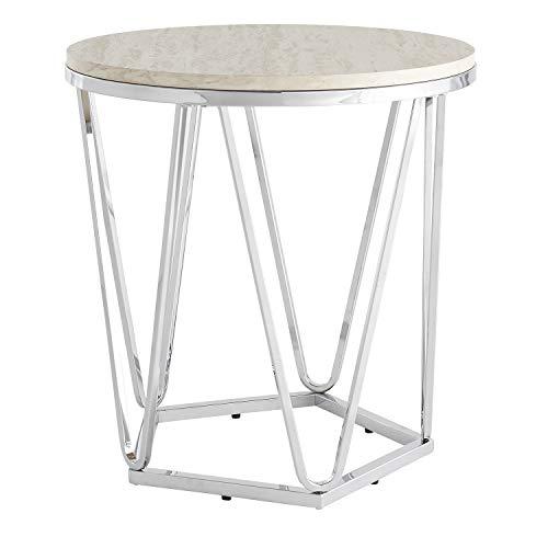 (Southern Enterprises AMZ2895KC Luna end Table, Silver, Faux Travertine)
