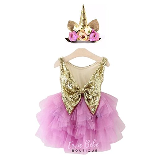 Envie Bebe Boutique - Barbie Pink and Gold Glitter Party Dress With Floral Unicorn Crown Headband, Unicorn Party, Unicorn Birthday, Unicorn Cake Smash, Pink Baby Dress (Five Year Old) -