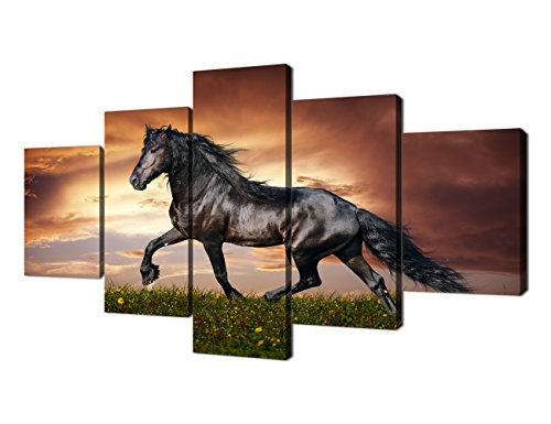 Horses Painting On Canvas Wall Art for Living Room Bedroom Home Decoration Prints Animal Pictures Artworks Stretched and Framed Ready to Hang for Wall Decor (60''W x 32''H)