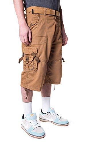 North 15 Mens Cotton Fashion Multi Pocket Belted Cargo Short -13017-Br. Kh-34 Dark Khaki ()