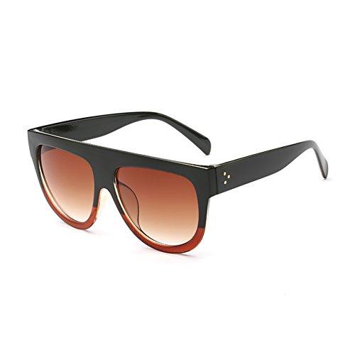 Coolsunny Women's Fashion Flat Top Square Aviator Gradient Frame Sunglasses CS6618 (Green-Burgundy, - Burgundy Sunglasses