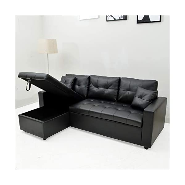 INTENSEDECO Canapé d'angle Convertible Cuero Noir
