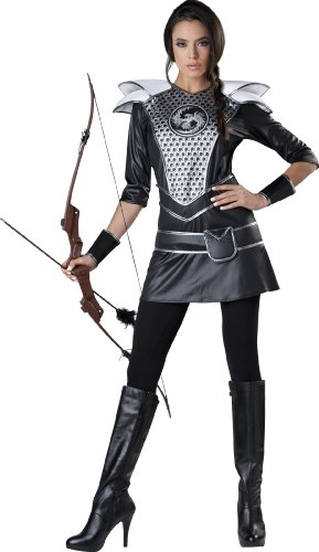 InCharacter Costumes Women's Midnight Huntress Costume, Silver/Black, Medium