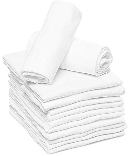 Ruvanti 10 Pack Birdseye Cloth Diapers .100% Organic Cotton Reusable Diapers Cloth/Paperless Towels/Reusable UnPaper Towels/Dust Cloths. Extra Large (24 X 24″) Burp Cloths for Babies & Toddlers.