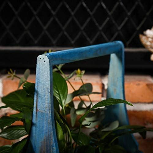 自然な木の花のかいばおけ/植木鉢、トラフプランターを掛ける,Brown/Blue-A-23×11×30cm