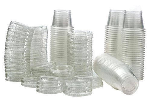 (Plastic Jello Shot Cups By Green Direct - Disposable 1 oz Clear Cups With Lids - Useful for any Party for Souffle Dessert or Ice Cream for hot & cold - Portion Condiment Sample Cup Pack of 100)