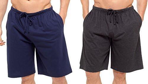 Hombres Pack Doble Salón Pantalones Cortos Jersey Elástico Noche Ropa Pijamas PJ Inferiores - Azul Marino -charhcoal, XX-Large: Amazon.es: Ropa y accesorios