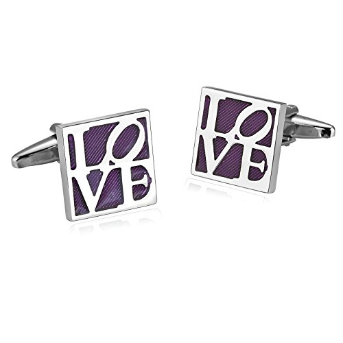 Mens Cufflinks Stainless Steel Silver Purple Square Engraved Love Shirt 1.5X1.5CM Xmas Gift Box Aooaz