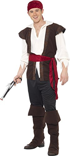 Smiffy's Men's Pirate Costume, Headscarf, Top, pants, Belt and Boot covers, Pirate, Serious Fun, Size XL, (Pirate Boots Uk)