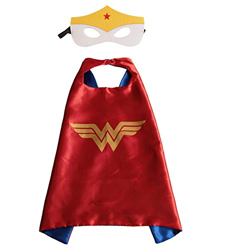 Superhero Halloween Party Cape and Mask Set for Kids Wonder Woman (Female Marvel Characters Costumes)