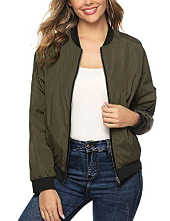 Aibrou Women Lightweight Bomber Jacket Long Sleeve Zip up Casual Coat with Pockets Army Green