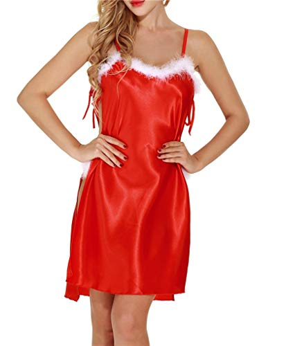 Fenxxxl Christmas Satin Spaghetti Strap Lingerie for Women Sexy Slip Satin Chemises F147-652 ()