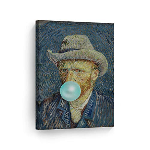 Smile Art Design Vincent Van Gogh's Masterpiece Self Portrait with Grey Felt Hat Teal Blue Bubble Gum Art Canvas Print Modern Painting Wall Art Classic Art Pop Art Ready to Hang Made in The USA 12x8 (Vincent Van Gogh Self Portrait With Felt Hat)