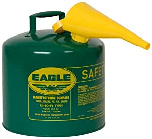 Eagle UI-50-FSG Type I Metal Safety Can with F-15 Funnel, Combustibles, 12-1/2 Width x 13-1/2 Depth, 5 Gallon Capacity, Green Color: Green Size: 5 gallon Outdoor, Home, Garden, Supply, Maintenance